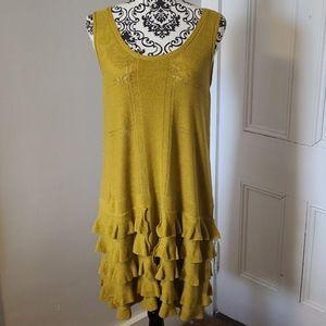 Rachel Roy linen cotton blend knit ruffle dress